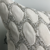 PILLOWCASE WHITE/SILVERVELVET W/beads - VERONA