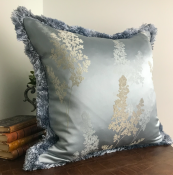 PILLOWCASE PATTERNED ICEGREY WITH FRINGE - SKY