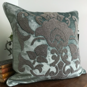 PILLOWCASE HANDMADE EMBROIDERED LIGHT TEAL - DIVINE
