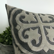 PILLOWCASE LINEN GREY WITH LIGHTGREY EMBRODERY - antique