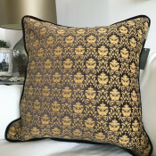 PILLOWCASE BROWN/GOLD TONES W/BROWN FRAME- FLORENS 60*60CM