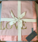 BLANKET KNITTED DUSTY PINK/GOLD TEXT - LOVE