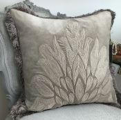 PILLOWCASE HANDMADE LIGHT GREY WITH FRINGE - LIVORNO