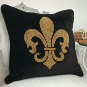 PILLOWCASE HANDMADE EMBROIDERED BLACK/GOLD - LILY