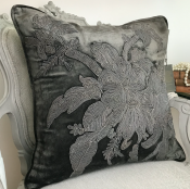 PILLOWCASE HANDMADE Anthracite GREY WITH EMBRODERY - VENEZIA