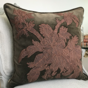 PILLOWCASE HANDMADE OLIVBROWN WITH EMBRODERY - VENEZIA