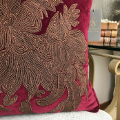 PILLOWCASE HANDMADE BURGUNDY WITH EMBRODERY - VENEZIA