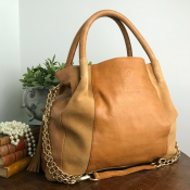 HANDBAG COGNAC - LEATHER T.HERMAN - MODEL TILDA