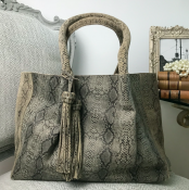 HANDBAG/SHOPPER ANACONDA PRINT GREY - SUEDE - LACE