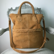 HANDBAG/SHOULDER BAG COGNAC - SUEDE - SIGNE