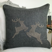 PILLOWCASE HANDMADE - GREY WOOL- Reindeer