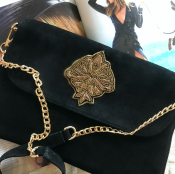 CLUTCH BLACK SUADE - EMBROIDERY GOLD - GRETA