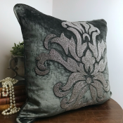 PILLOWCASE HANDMADE EMBROIDERED anthracite GREY - FLOWER