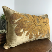PILLOWCASE BEIGE GOLD VELVET - LIVORNO