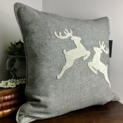 PILLOWCASE HANDMADE - LIGHT GREY WOOL- Reindeer IVORY