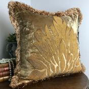 PILLOWCASE HANDMADE BEIGEGOLD WITH FRINGE - LIVORNO