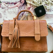 HANDBAG COGNAC CROC - leather - MODEL RITA