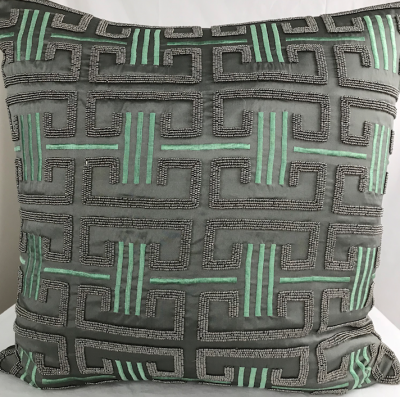 PILLOWCASE HANDMADE EMBROIDERED GREY/DUSTY GREEN
