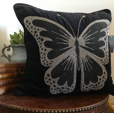 PILLOWCASE HANDMADE EMBROIDERED BLACK - BUTTERFLY -