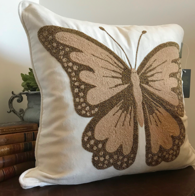 PILLOWCASE HANDMADE EMBROIDERED WHITE - BUTTERFLY GOLD/BEIGE