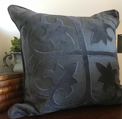 PILLOWCASE LINEN DEEP GREY WITH embroidery - COAST
