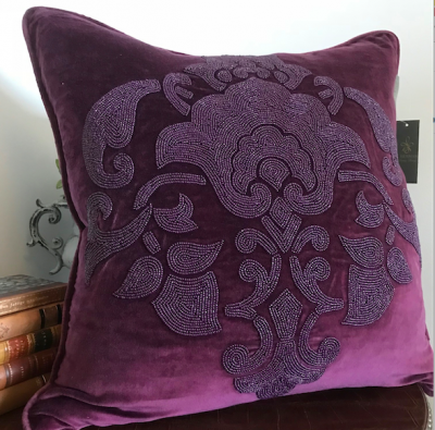PILLOWCASE HANDMADE EMBROIDERED BURGUNDY - DIVINE