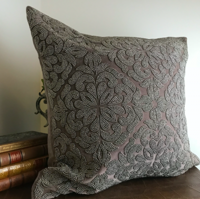 PILLOWCASE HANDMADE EMBROIDERED DUSTY NOUGAT - POWER
