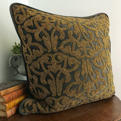 PILLOWCASE HANDMADE EMBROIDERED DARK BROWN - GOLD BEADS - LAKSHMI