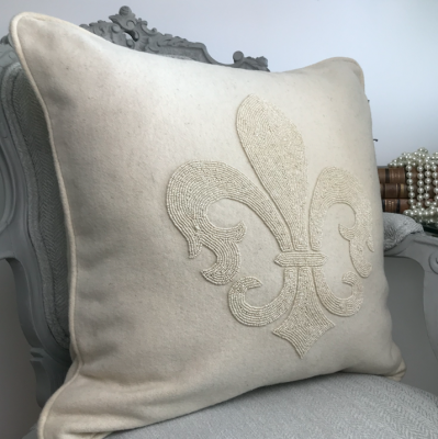 PILLOWCASE HANDMADE EMBROIDERED IVORY - LILY