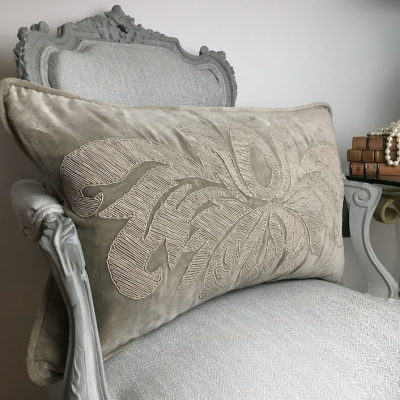 PILLOWCASE LIGHT GREY VELVET - LIVORNO